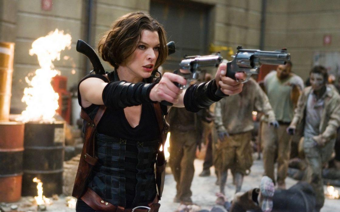 Milla Jovovich actress brunette brunettes women female feamles girl girls resident evil movie movies  s wallpaper