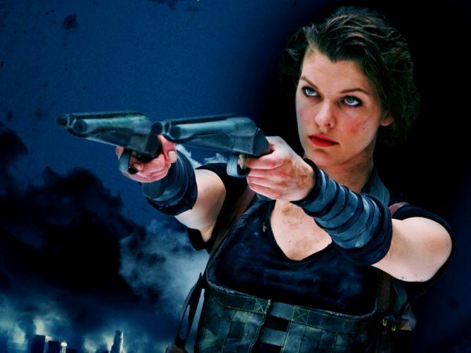 Milla Jovovich actress brunette brunettes women female feamles girl girls resident evil movie movies z wallpaper