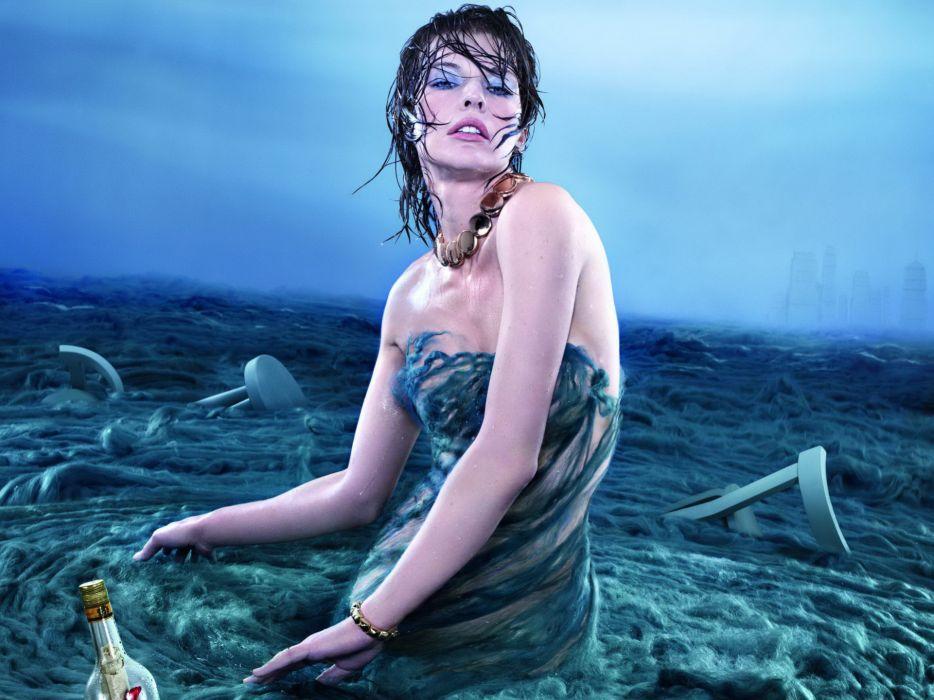Milla Jovovich actress brunette brunettes women female feamles girl girls t wallpaper