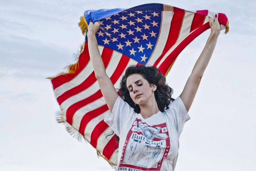 Lana Del Rey singer singers pop brunette brunettes women females female girl girls flag flags     r wallpaper