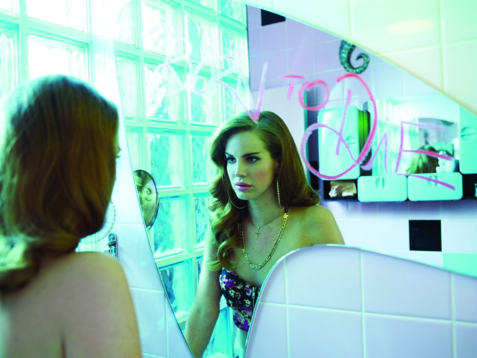 Lana Del Rey singer singers pop brunette brunettes women females female girl girls mirror reflection wallpaper