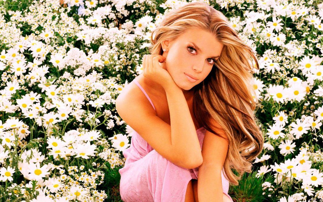 Jessica Simpson singer pop women female females flower flowers wallpaper