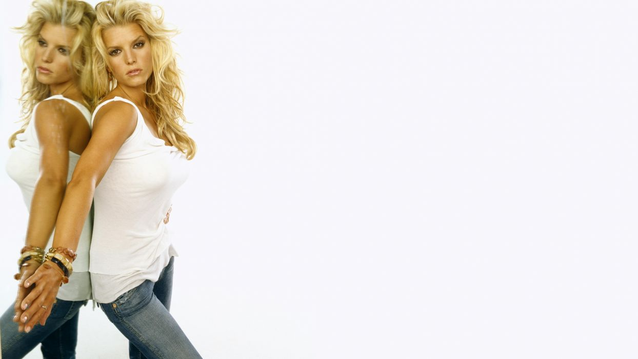 Jessica Simpson singer pop women female females mirror reflection  f wallpaper