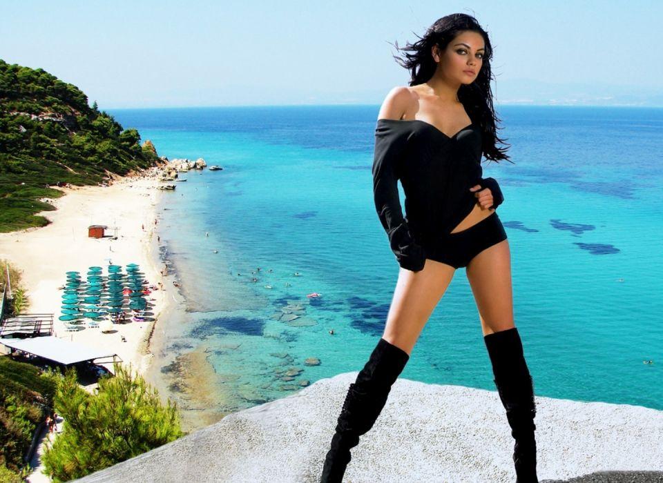 Mila Kunis actress brunette brunettes women female females          p wallpaper