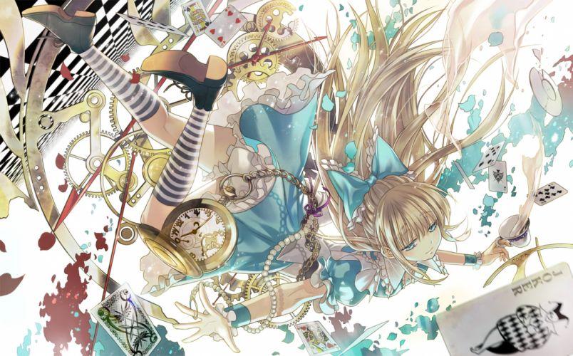 alice in wonderland blonde hair blue eyes bow dress kneehighs starpri wallpaper