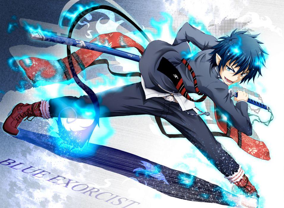ao no exorcist blue eyes blue hair elf fire flask (pandora) male okumura rin short hair sword tail tie weapon wallpaper