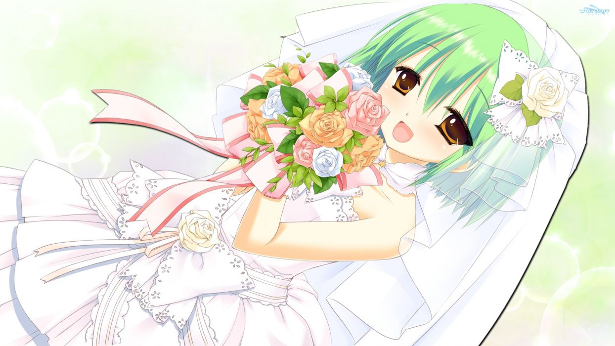 nekonade distortion dress flowers green hair miyasu risa nanakase shikiko short hair wedding dress whitesoft wallpaper