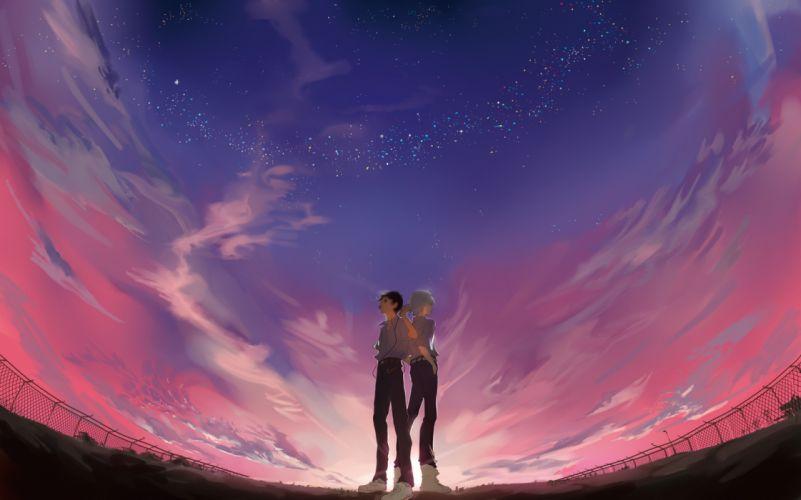 neon genesis evangelion clouds ikari shinji male nagisa kaworu night scenic sky stars sunset xiayu93 wallpaper