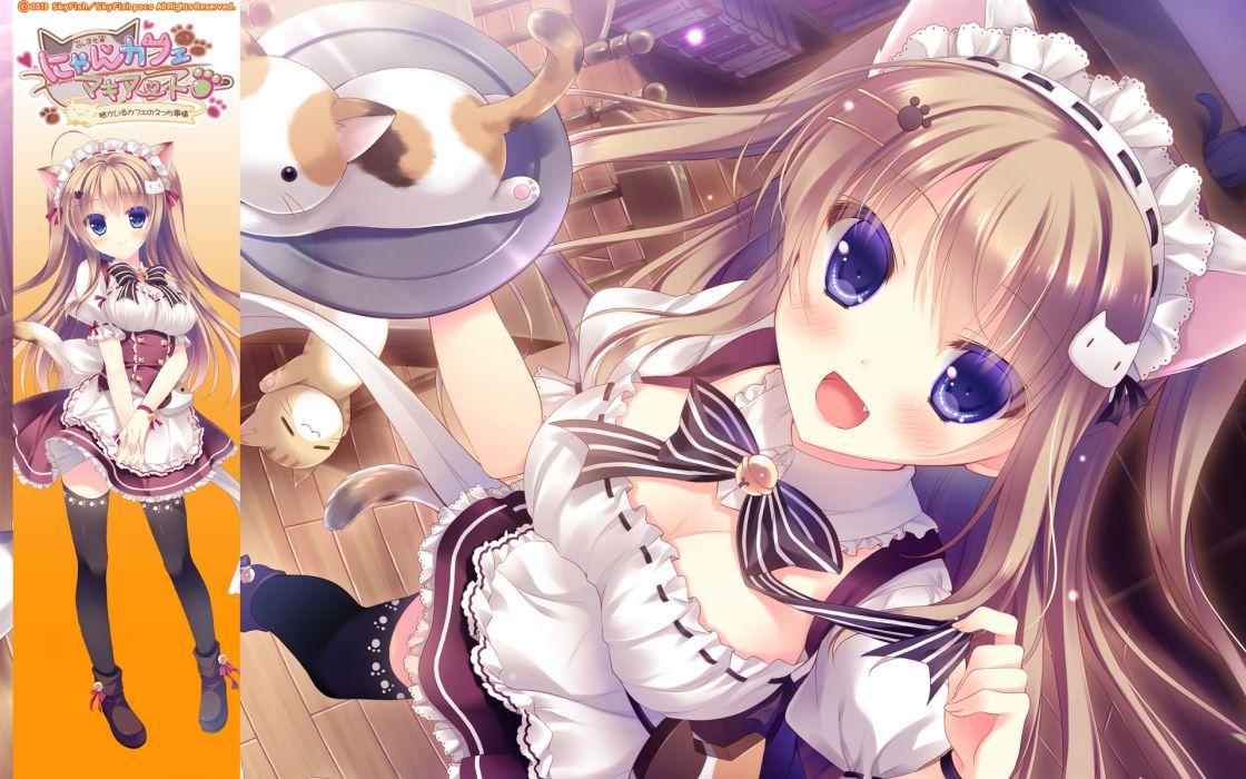 nyan cafe macchiato animal animal ears brown hair cat catgirl cleavage dress maid nekomori mike purple eyes skyfish tail thighhighs yukie wallpaper