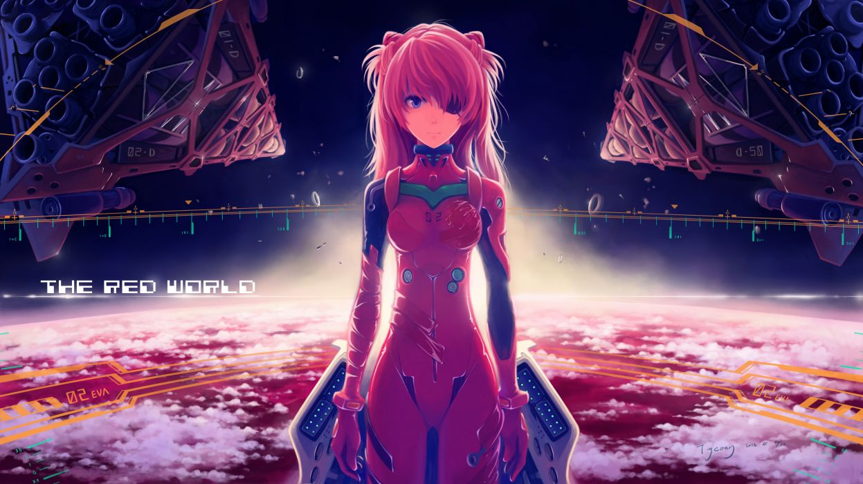 neon genesis evangelion blue eyes bodysuit clouds earth eyepatch orange hair sky soryu asuka langley space wallpaper