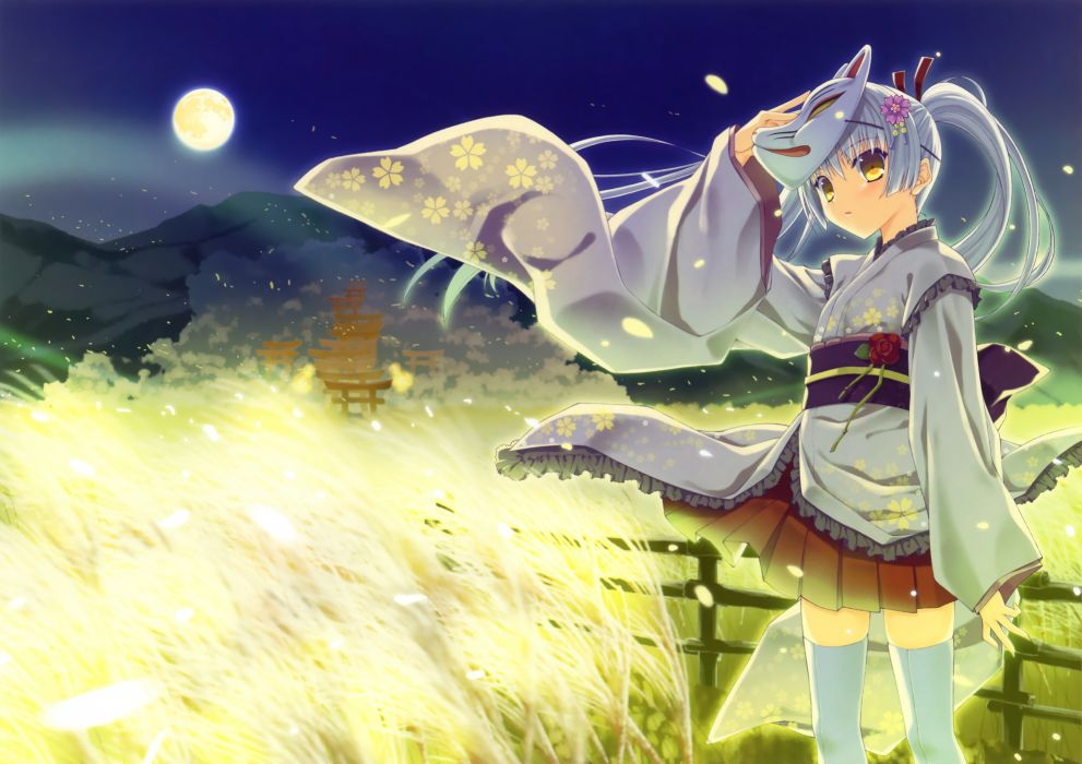original japanese clothes moon nanao naru night skirt thighhighs twintails yellow eyes wallpaper