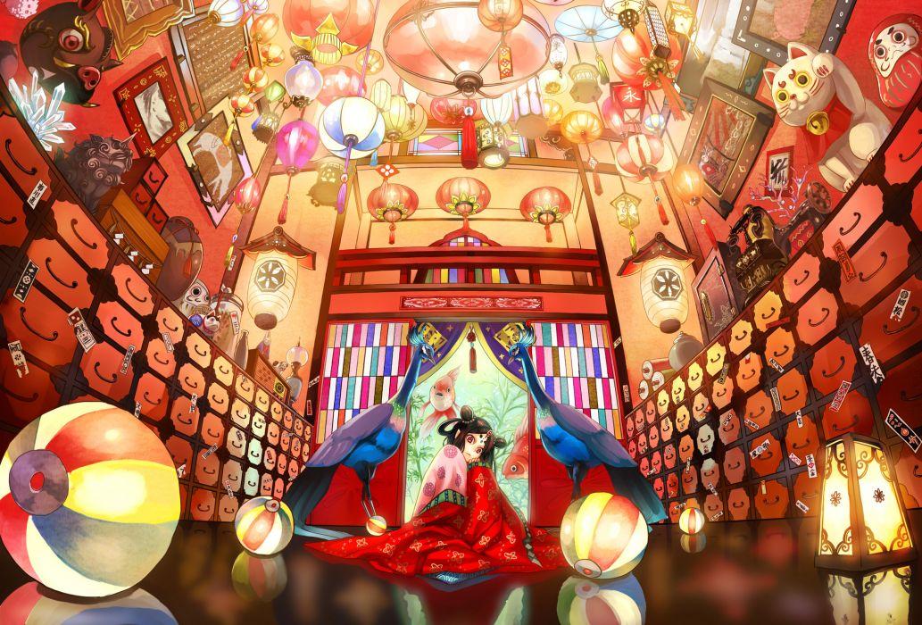 original animal bird fish japanese clothes kimono kirinosuke pink eyes wallpaper