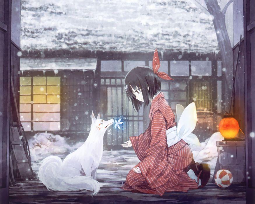 original animal black hair fox japanese clothes short hair snow takano otohiko wallpaper