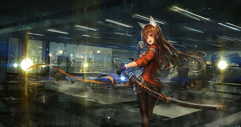 original animal ears brown hair city katana red eyes sword tagme weapon wallpaper