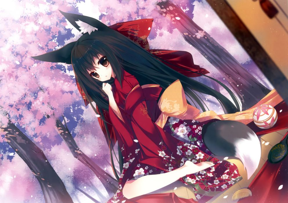 original animal ears barefoot black hair foxgirl japanese clothes kimono long hair tail wallpaper