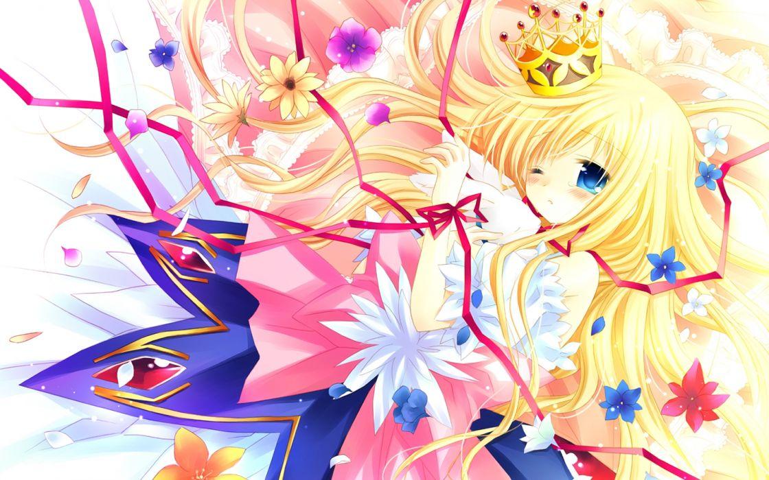 original blonde hair blue eyes crown dress flowers loli sakurazawa izumi wallpaper