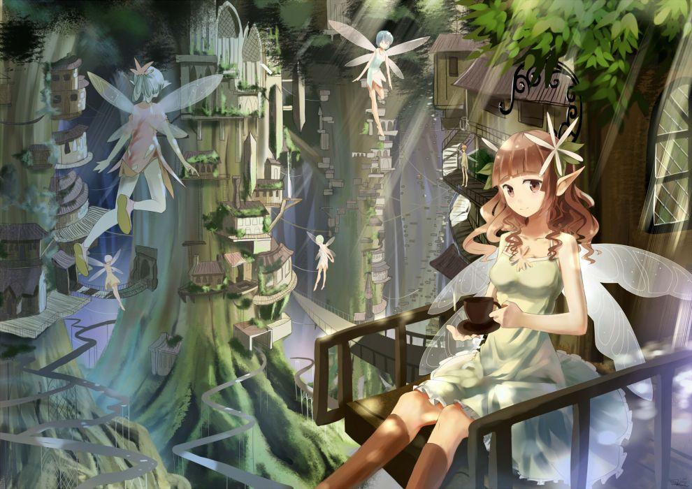 original brown eyes brown hair dress fairy forest tree wings wallpaper