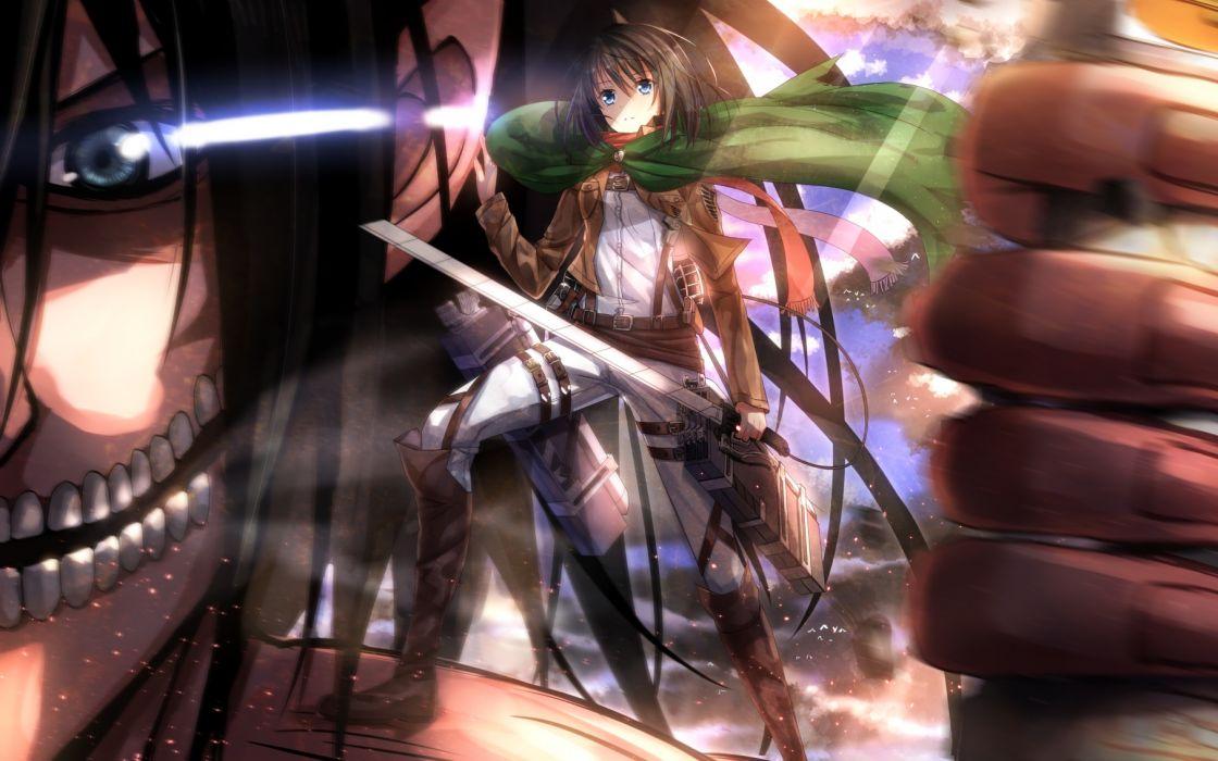 shingeki no kyojin boots cape close mikasa ackerman rogue titan rouge titan sword swordsouls weapon wallpaper