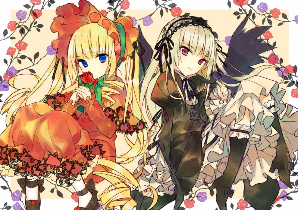 rozen maiden girls flowers goth-loli hanabana tsubomi lolita fashion long hair rose shinku suigintou wallpaper