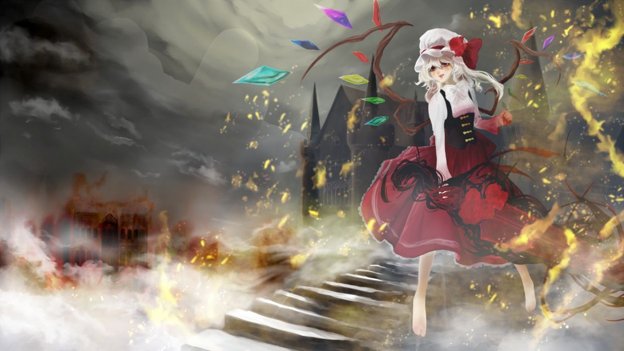 touhou barefoot bow dress fire flandre scarlet hat helichrysum sword weapon wings wallpaper