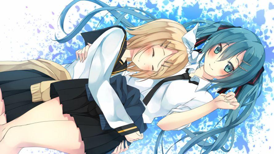 vocaloid girls blush hatsune miku hug kagamine rin o daizen wallpaper