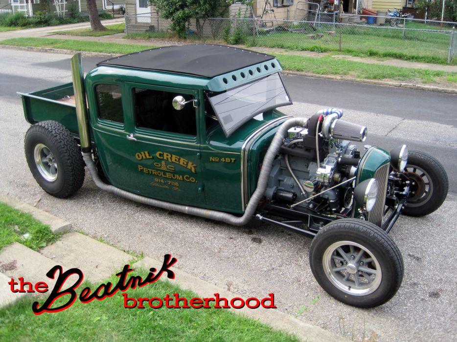 Cummins Diesel Turbo Ford Model-A model hot rod rods retro engine engines wallpaper