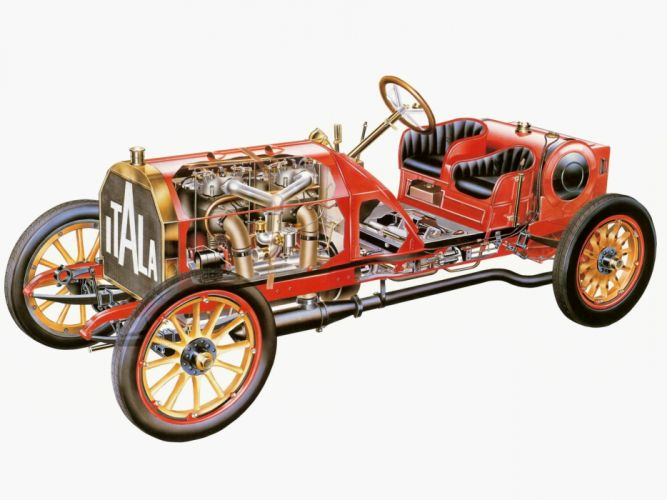 1907 Itala Grand Prix two-seater retro race racing engine engines b wallpaper