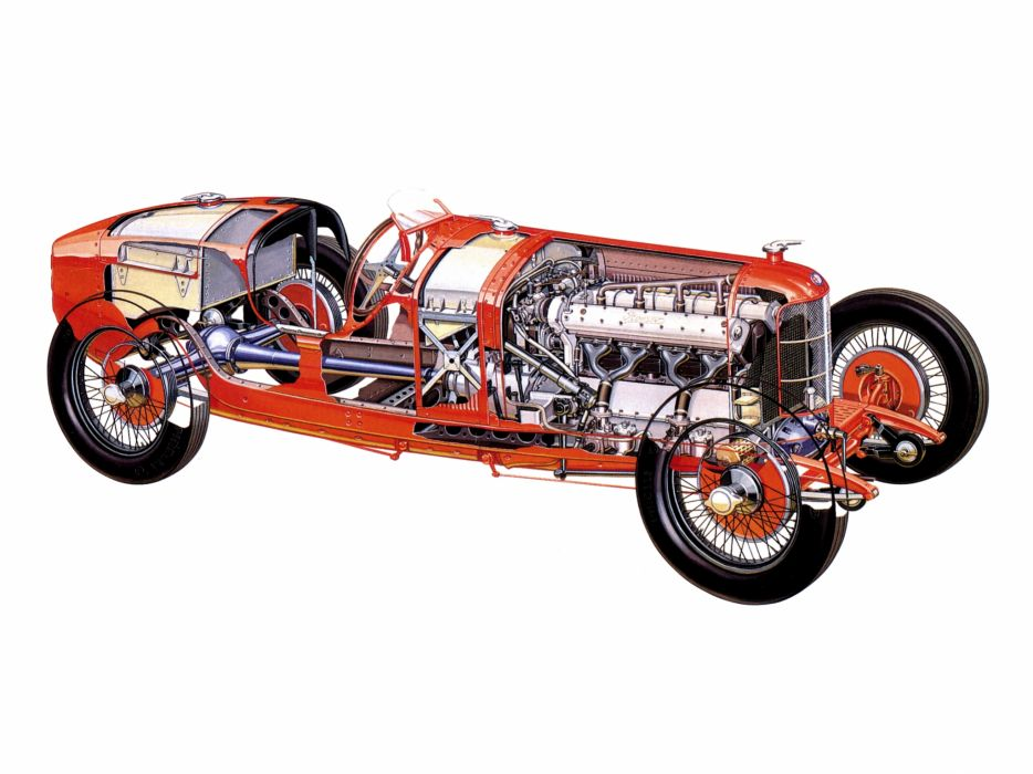 1924 Alfa Romeo Tipo P-2 retro race racing interior engine engines wallpaper