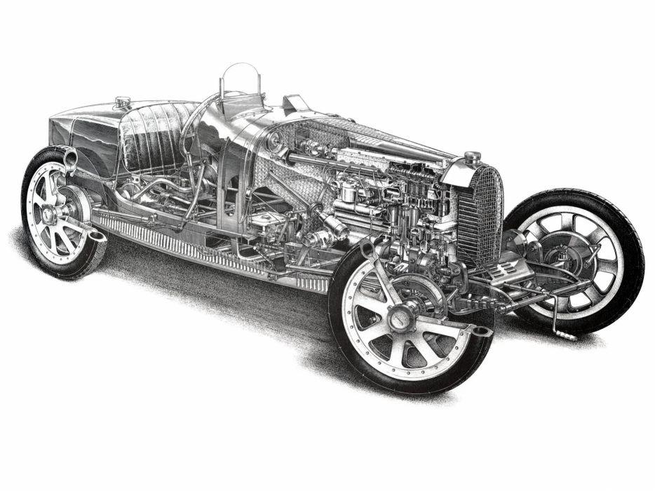 1924 Bugatti Type-35 retro race racing interior engine engines B-W wallpaper