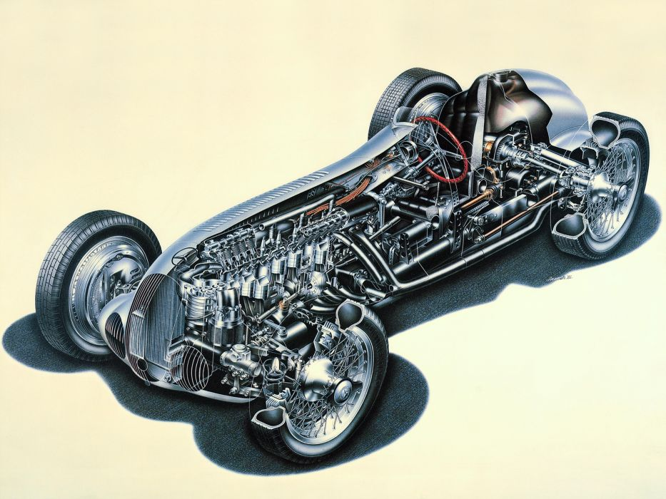 1937 Mercedes Benz Formula W125 retro race racing interior engine engines wallpaper