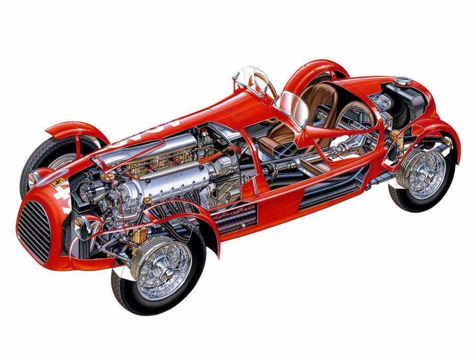 1947 Ferrari 166 Spyder Corsa retro race racing interior engine engines wallpaper