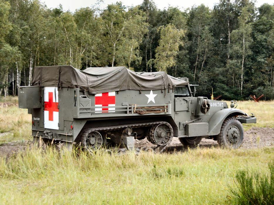1940 White M3 Half-track Ambulance truck trucks military   gr wallpaper