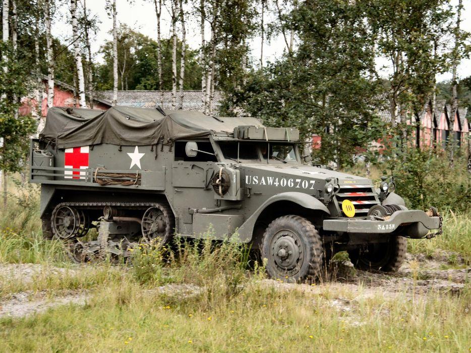 1940 White M3 Half-track Ambulance truck trucks military wallpaper