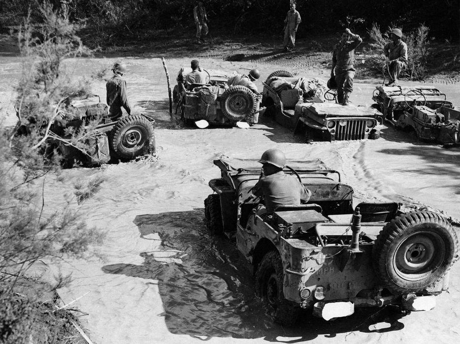 1942 Willys M-B military offroad 4x4 retro b-w wallpaper