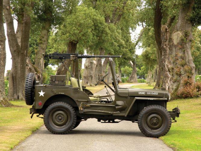 1950 Willys M38 Jeep truck trucks military retro weapon weapons gun guns g wallpaper
