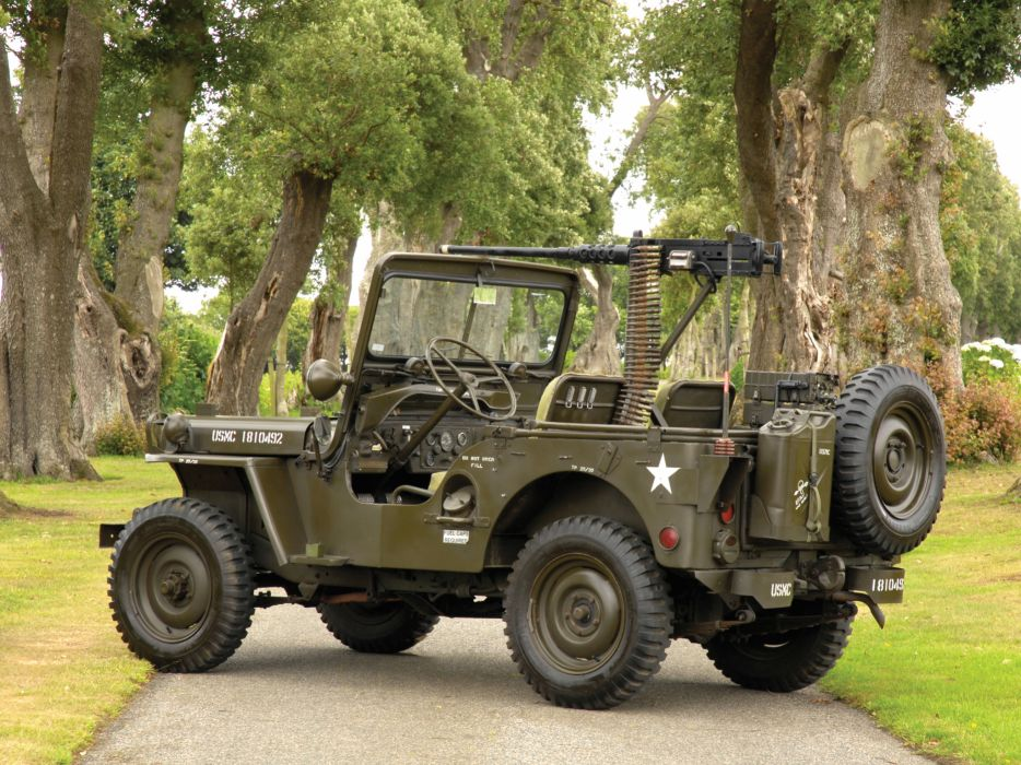 1950 Willys M38 Jeep truck trucks military retro weapon weapons gun guns wallpaper