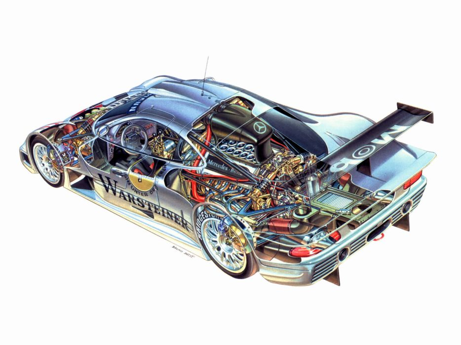 Mercedes Benz CLK GTR AMG supercar supercars race racing interior engine engines wallpaper