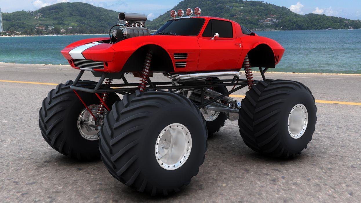 monster-truck monster truck trucks 4x4 wheel wheels corvette corvettes hot rod rods wallpaper