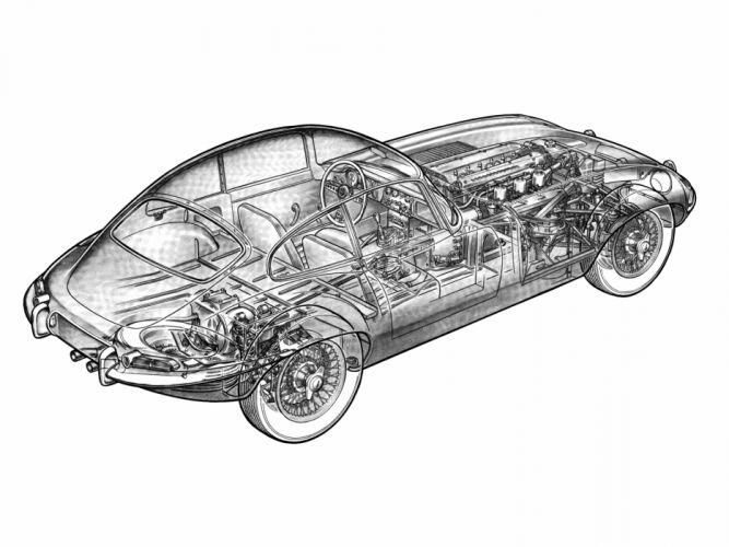 1961 Jaguar E-Type Fixed Head Coupe classic supercar supercars interior engine engines wallpaper