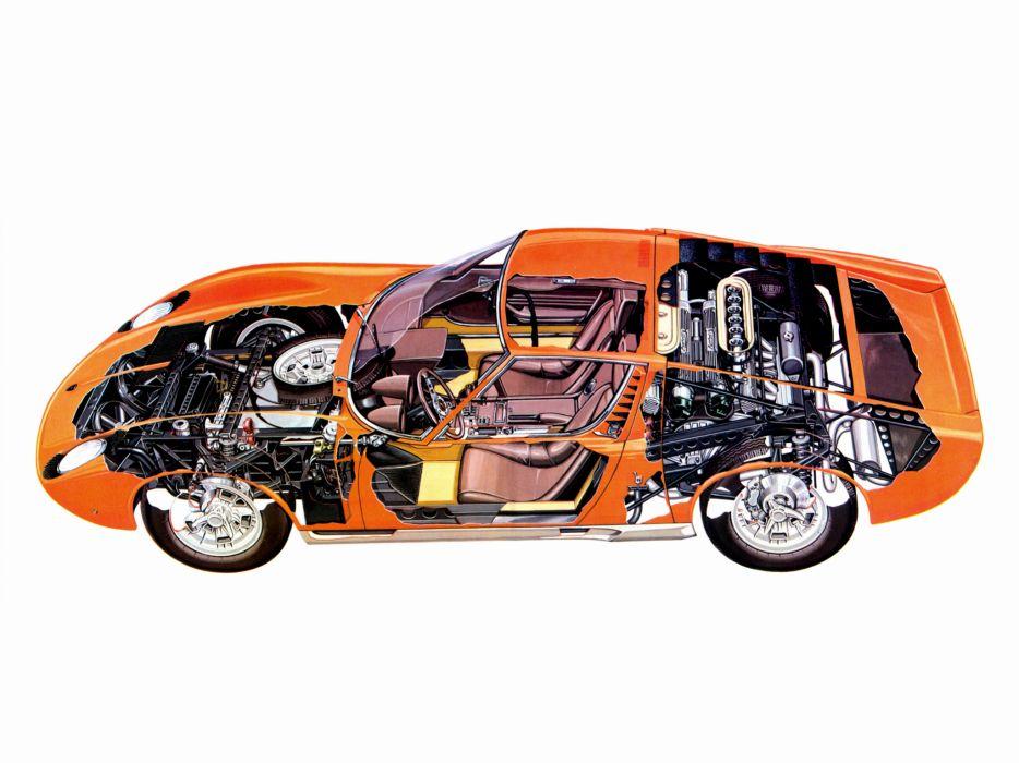 1966 Lamborghini Miura P400 classic supercar supercars interior engine engines wallpaper