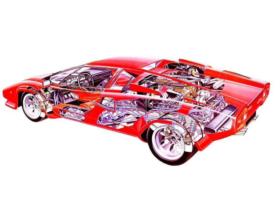 1978 Lamborghini Countach LP400-S lp400 classic supercars supercar interior engine engines wallpaper