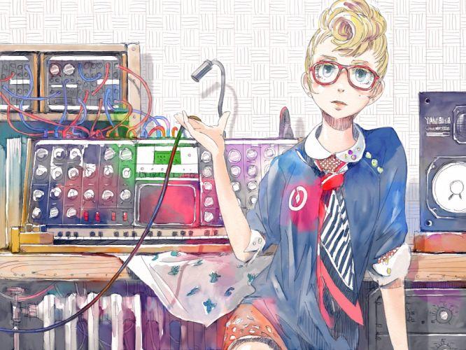 blonde hair glasses original risa hibiki wallpaper