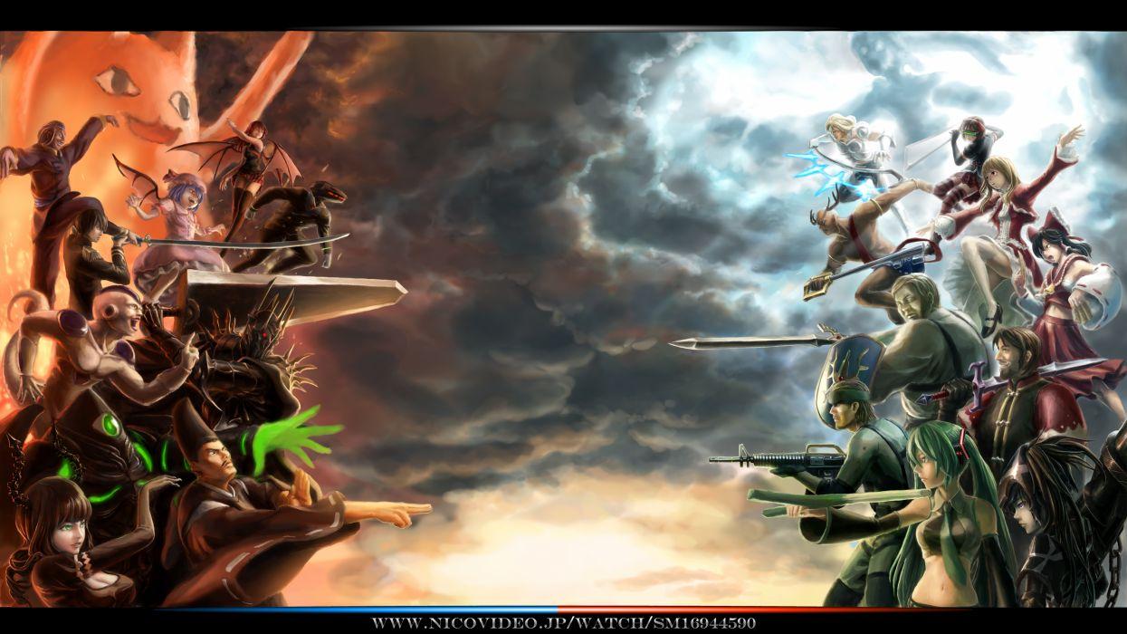 chiyo father clouds crossover dnlin dragonball frieza gun koakuma kuroi mato leek metal gear solid snake sword tagme touhou vocaloid weapon wallpaper