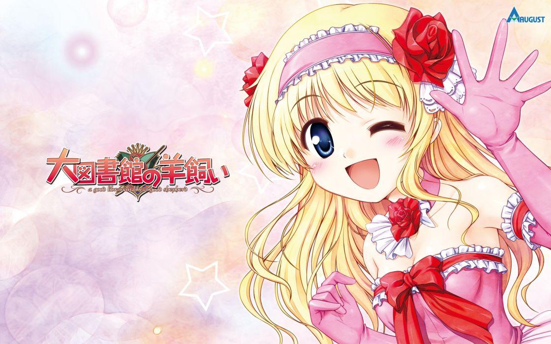 daitoshokan no hitsujikai bekkankou blonde hair blue eyes daitoshokan no hitsujikai elbow gloves suzuki kana wink wallpaper