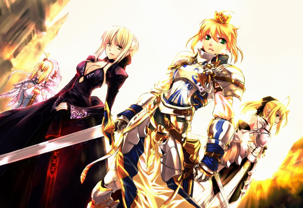 fate stay armor blonde hair crown dress fate extra green eyes jian huang ponytail saber saber alter saber bride saber extra saber lily sword weapon yellow eyes wallpaper