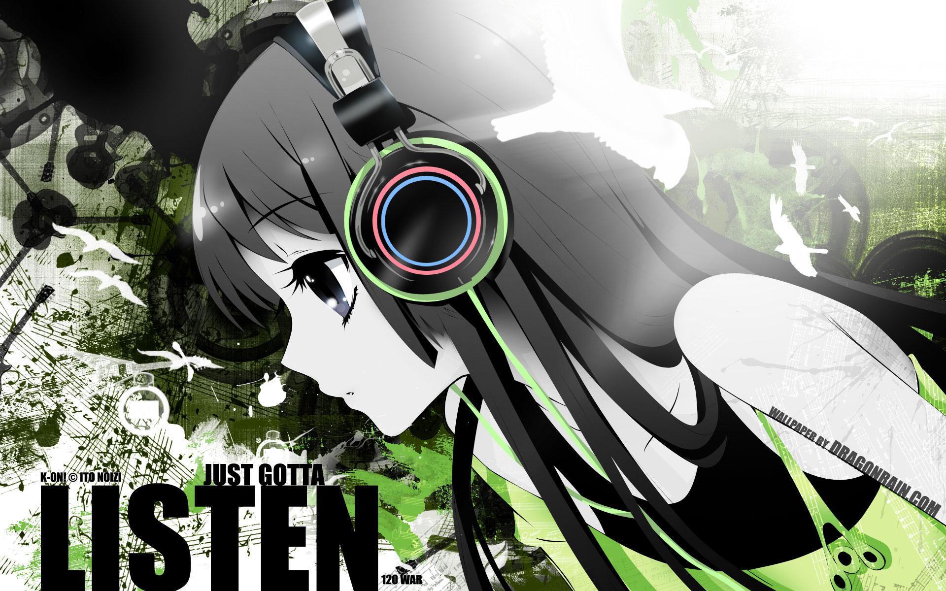 kon akiyama mio black eyes black hair headphones
