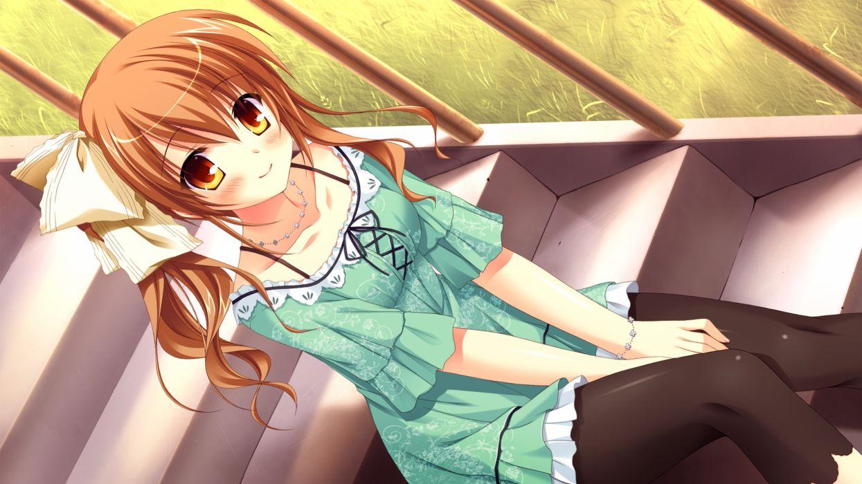 lovera bride blush brown eyes brown hair chuablesoft dress game cg lomigawa hitomi pantyhose takano yuki wallpaper