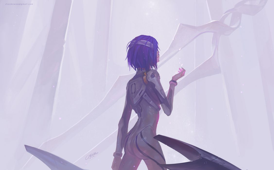 neon genesis evangelion ayanami rei bandage bodysuit chenbo a wallpaper