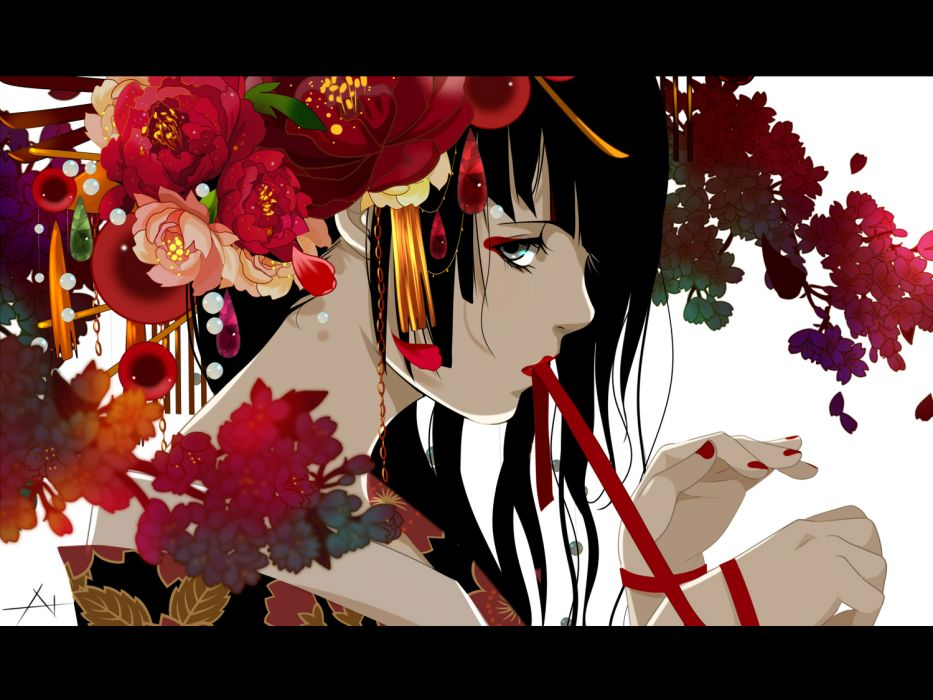 original black eyes black hair flowers japanese clothes kimono nanasie wallpaper