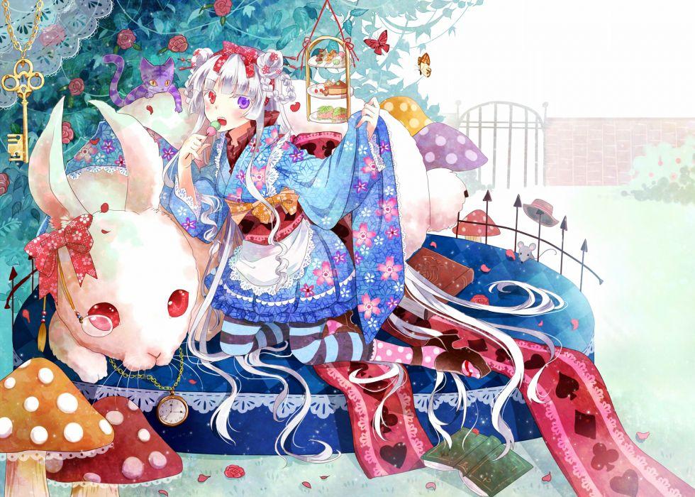 original animal bicolored eyes book bow butterfly japanese clothes nekozuki yuki original purple eyes rabbit red eyes white hair wallpaper